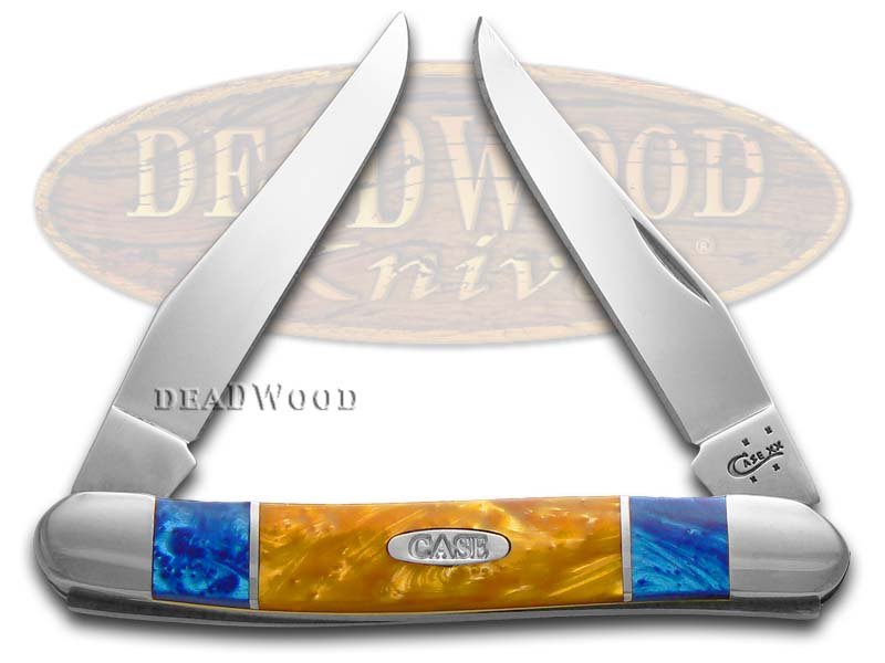 Case xx Blue Silk and Antique Gold Corelon Muskrat Stainless Pocket Knife Knives