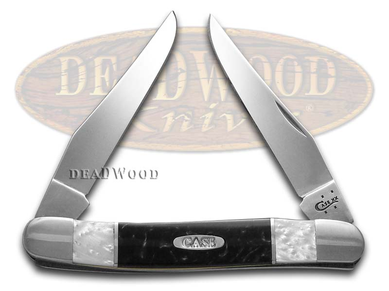 Case xx White Pearl and Black Pearl Corelon Muskrat Stainless Pocket Knife Knives