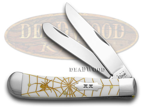Case xx White Delrin Gold Spider Web Trapper 1/500 Pocket Knife Knives