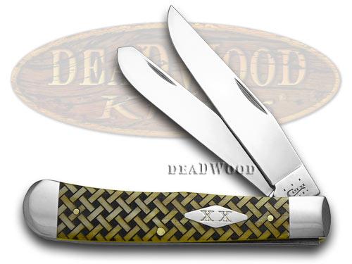 Case xx Antique Bone Basketweave 1/600 Trapper Pocket Knife Knives