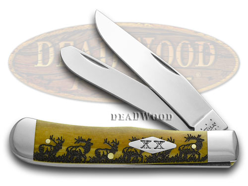 Case xx Elk Walking Antique Bone Trapper Stainless 1/500 Pocket Knife Knives