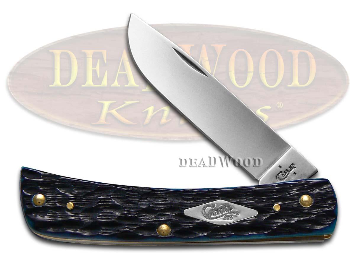 Case xx Jigged Ocean Blue Bone Sod Buster Stainless Pocket Knife Knives