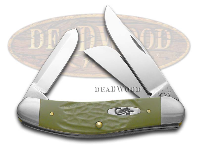 Case xx Rough Olive Green Delrin Sowbelly Stainless Pocket Knife Knives