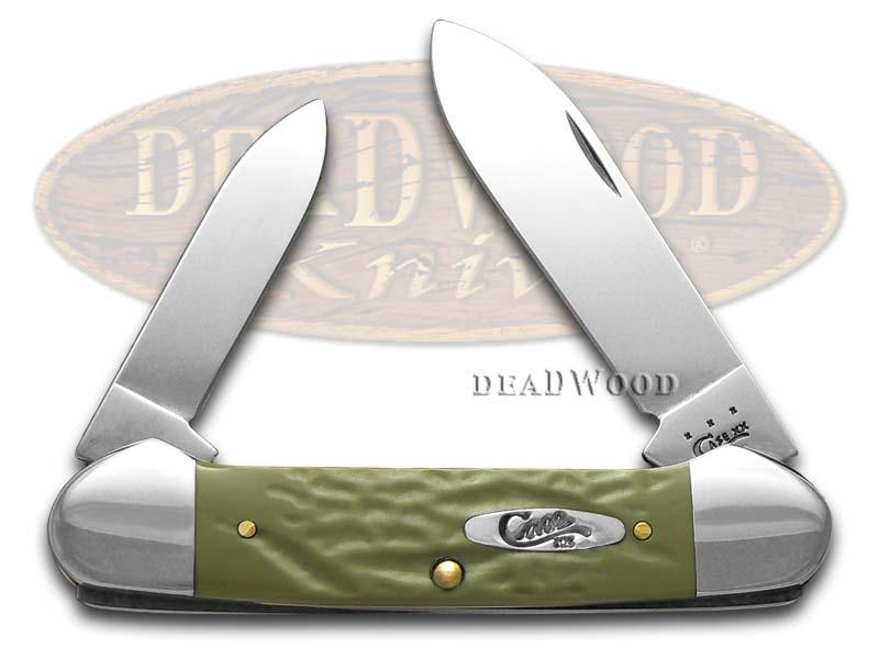Case xx Rough Olive Green Delrin Canoe Stainless Pocket Knife Knives