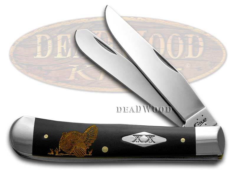 Case xx Gold Turkey Black Delrin 1/500 Trapper Stainless Pocket Knife Knives