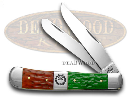 Case xx Red Bright Green Jigged Bone Christmas Trapper Pocket Knife Knives