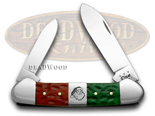 Case xx Red Bright Green Jigged Bone Christmas Canoe Pocket Knife Knives