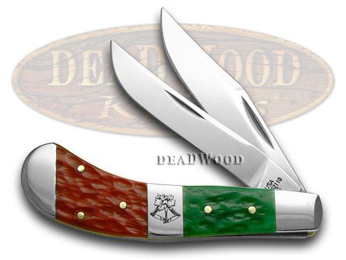 Case xx Red Bright Green Jigged Bone Christmas Saddlehorn Pocket Knife Knives