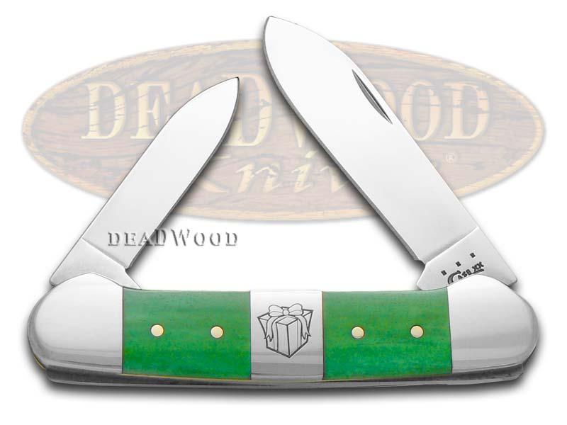 Case xx Christmas Bright Green Bone Canoe Stainless Pocket Knife Knives