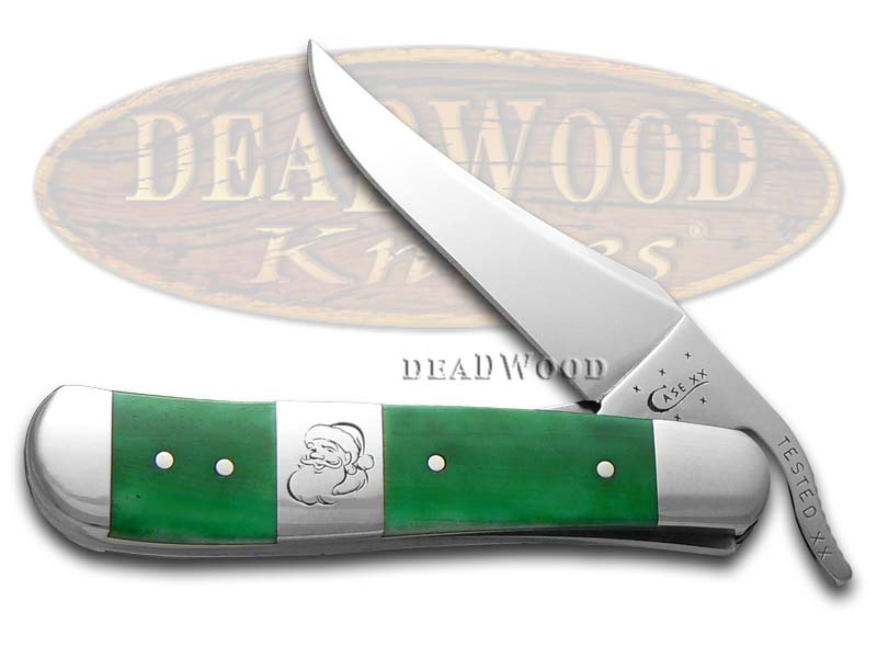 Case xx Christmas Bright Green Bone Russlock Stainless Pocket Knife Knives