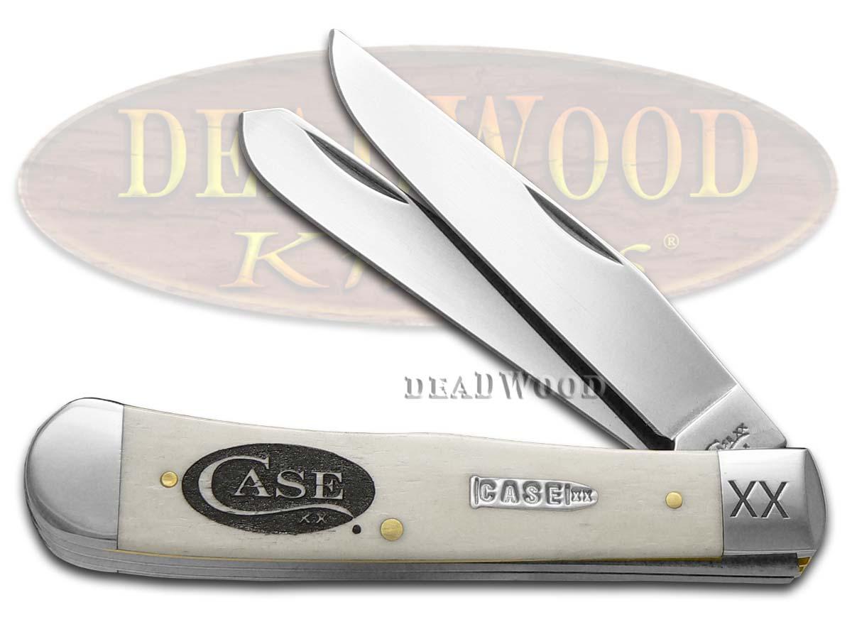 Case xx Logo Etched Natural Bone Trapper 1/500 Stainless Pocket Knife Knives