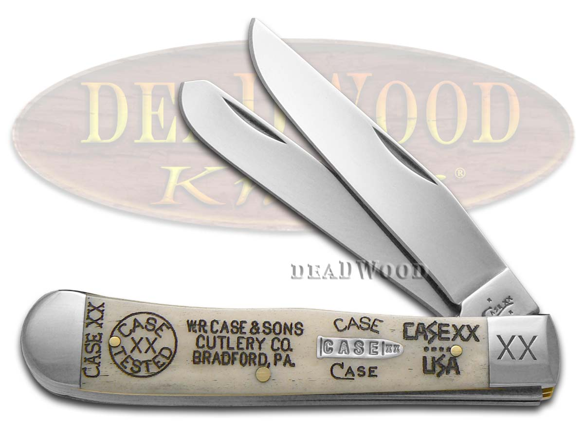 Case xx Tang Stamps Natural Bone Trapper 1/500 Stainless Pocket Knife Knives