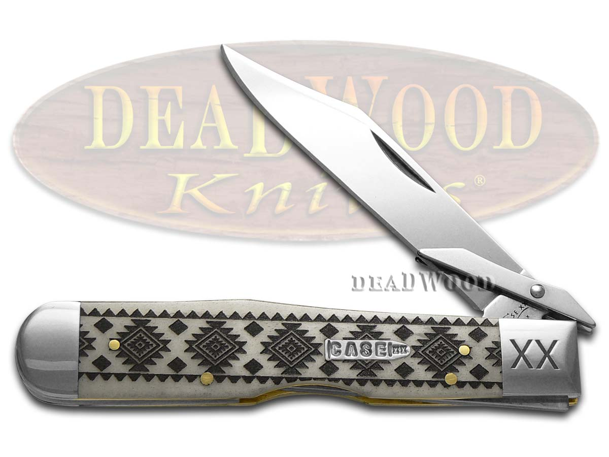 Case xx Natural Bone Tribal Native American Pattern Cheetah 1/500 Stainless Pocket Knife Knives
