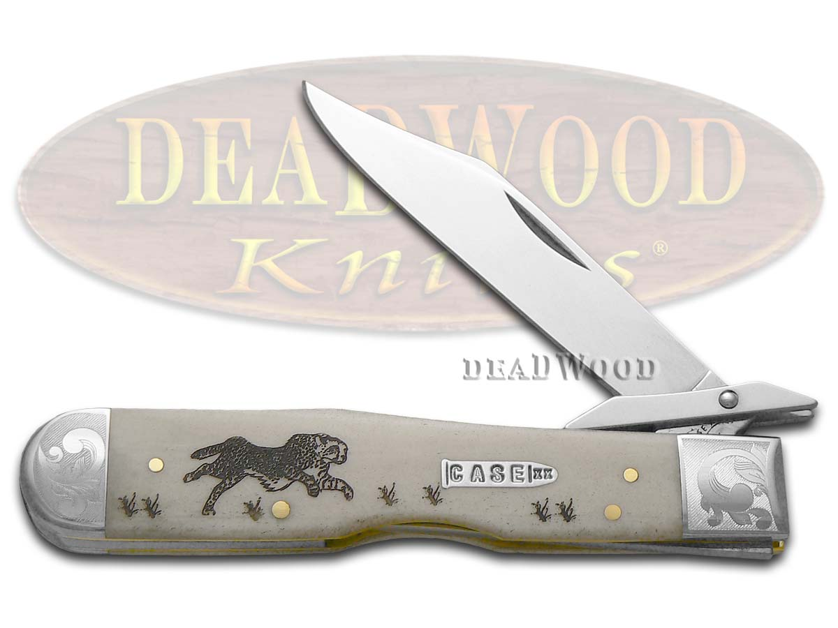 Case xx Scrolled Natural Bone Running Cheetah 1/200 Stainless Pocket Knife Knives