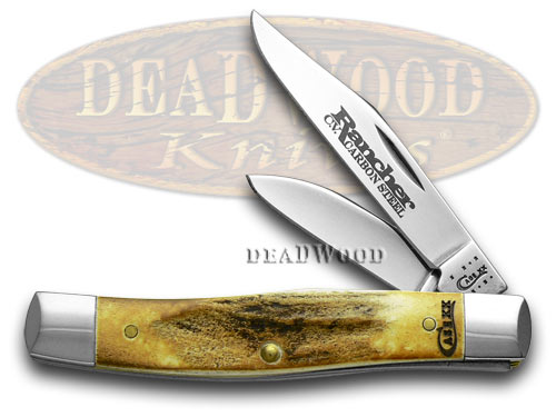 Case xx Genuine Deer Stag Rancher Medium Texas Jack Pocket Knife Knives
