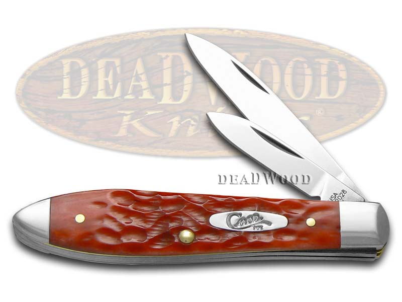 Case xx Jigged Dark Red Bone Tear Drop Jack Chrome Vanadium Pocket Knife Knives