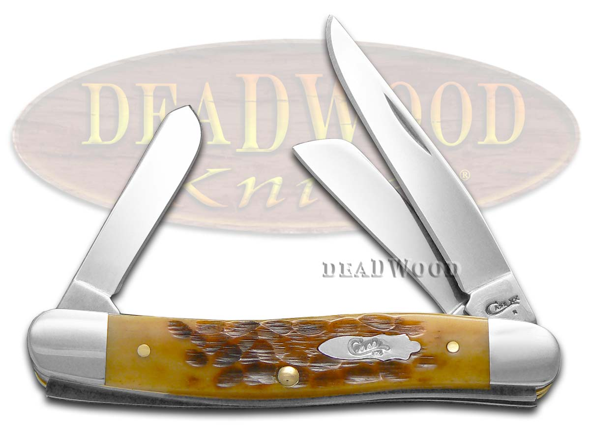 Case xx Jigged Antique Bone Medium Stockman Stainless Pocket Knife Knives