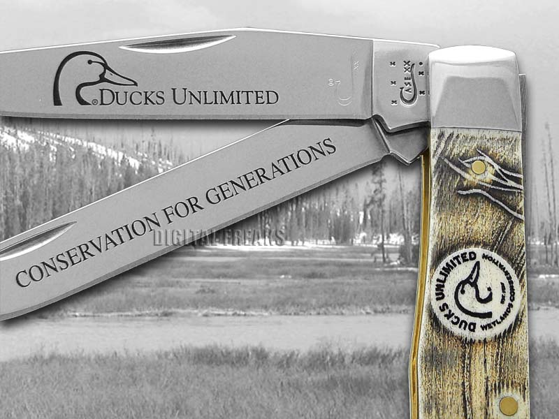 Case Xx Ducks Unlimited Embossed Natural Bone Trapper