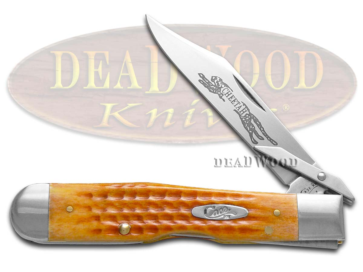 Case xx Harvest Orange Bone Cheetah Pocket Knife Knives