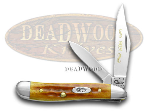 Case xx Son Etching 1/500 Peanut - Harvest Orange Jigged Bone Pocket Knife Knives