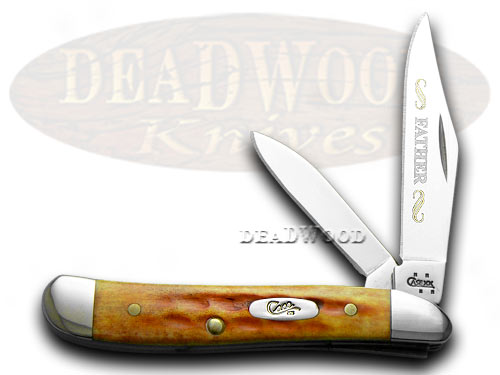 Case xx Father Etched 1/500 Peanut Harvest Orange Jigged Bone Pocket Knife Knives