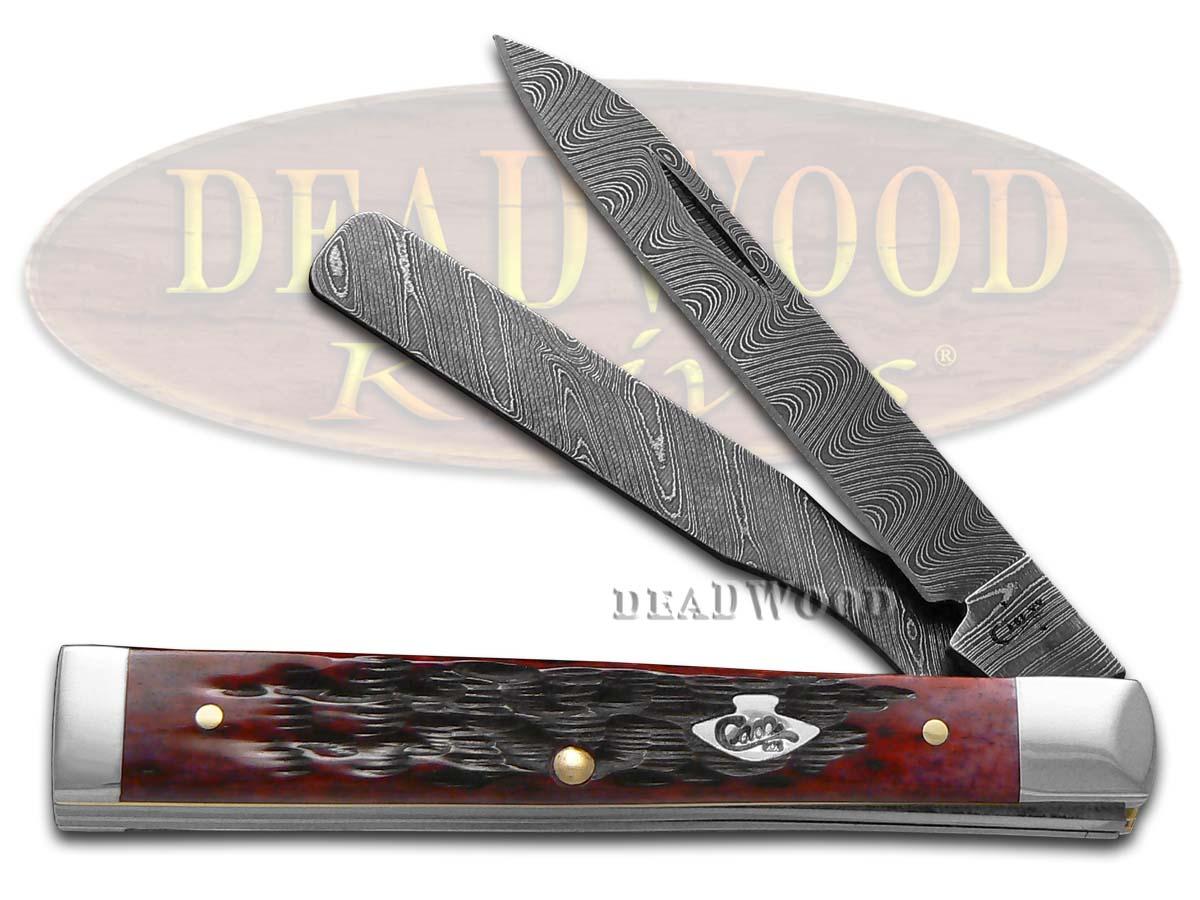 Case xx Damascus Jigged Crimson Red Bone Doctor Pocket Knife Knives