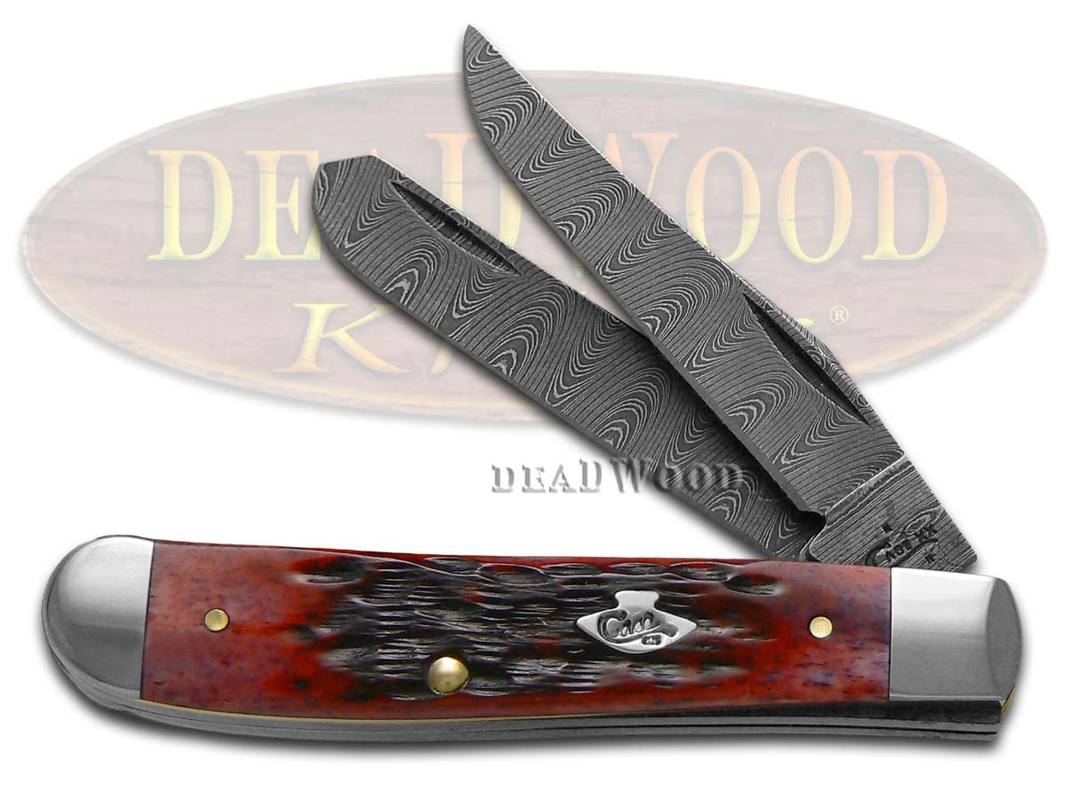 Case xx Damascus Jigged Crimson Red Bone Mini Trapper Pocket Knife Knives