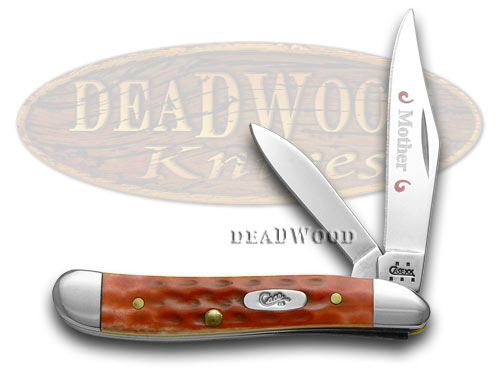 Case xx Mother Etched Peanut - Red Pocket Worn Knife Knives