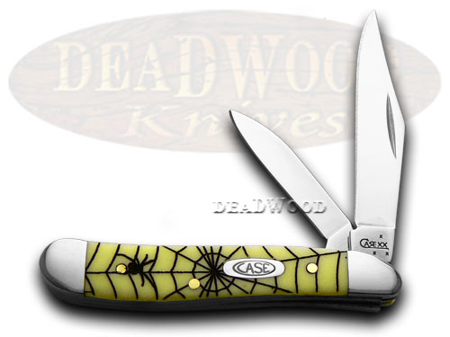 Case xx Yellow Spider Web Peanut 1/1000 Pocket Knife Knives