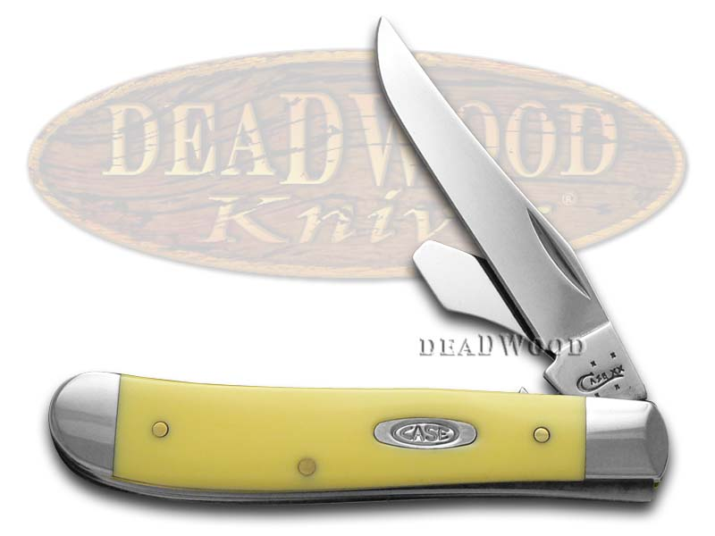 Case xx Smooth Yellow Delrin Synthetic Mini Trapper Stainless Pocket Knife With Bottle Opener
