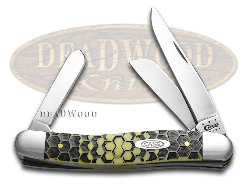 Case xx Honeycomb Etch Yellow Delrin Medium Stockman 1/1000 Stainless Pocket Knife