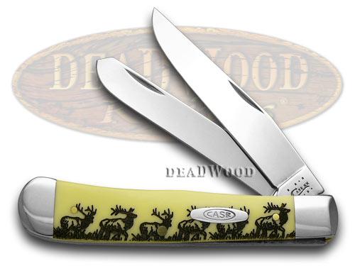 Case xx Trapper - Elk Walking Etched Yellow Pocket Knife Knives