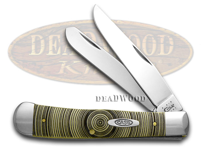 Case xx Trapper - Tree Rings Etched Synthetic Yellow Hanldes Pocket Knife Knives
