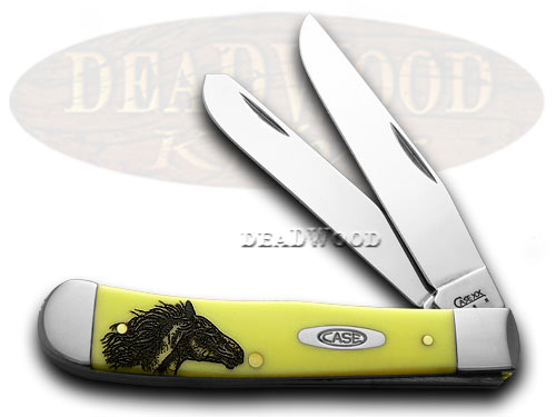 Case xx Trapper - Wild Mustang Etched Yellow Synthetic Pocket Knife Knives