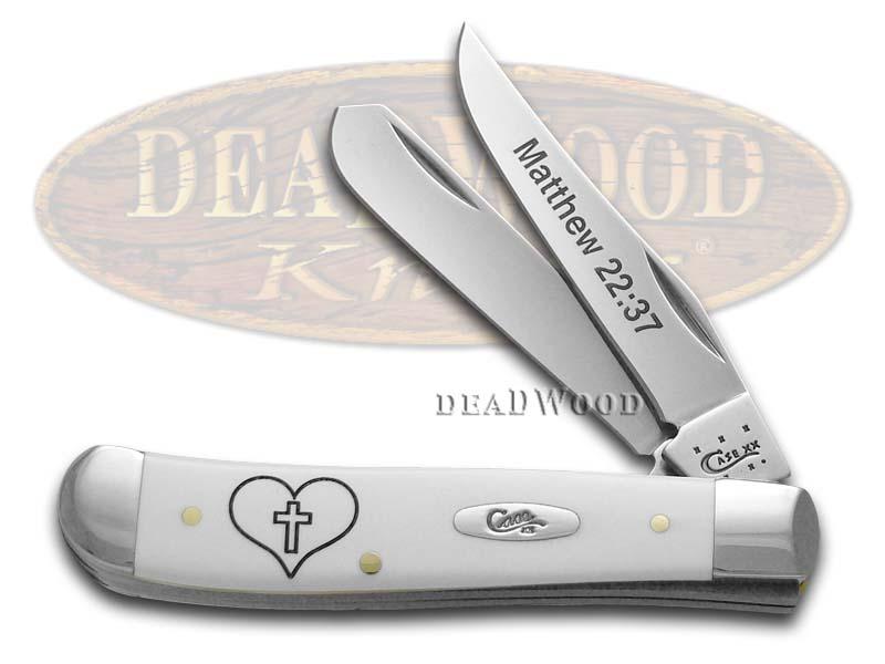 Case xx Matthew 22:37 White Delrin Mini Trapper Stainless Pocket Knife Knives