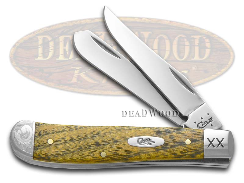 Case xx Scrolled Bois D' Arc Wood Mini Trapper Stainless 1/125 Pocket Knife Knives