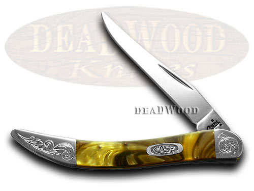 Case xx Engraved Bolster Series Genuine Butter Rum Corelon Toothpick Pocket Knives