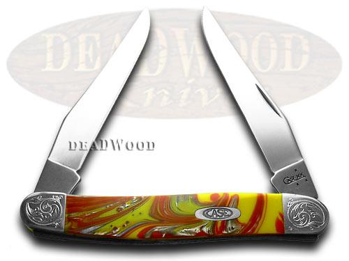 Case xx Engraved Bolster Series Genuine Fire Box Corelon Muskrat Pocket Knives