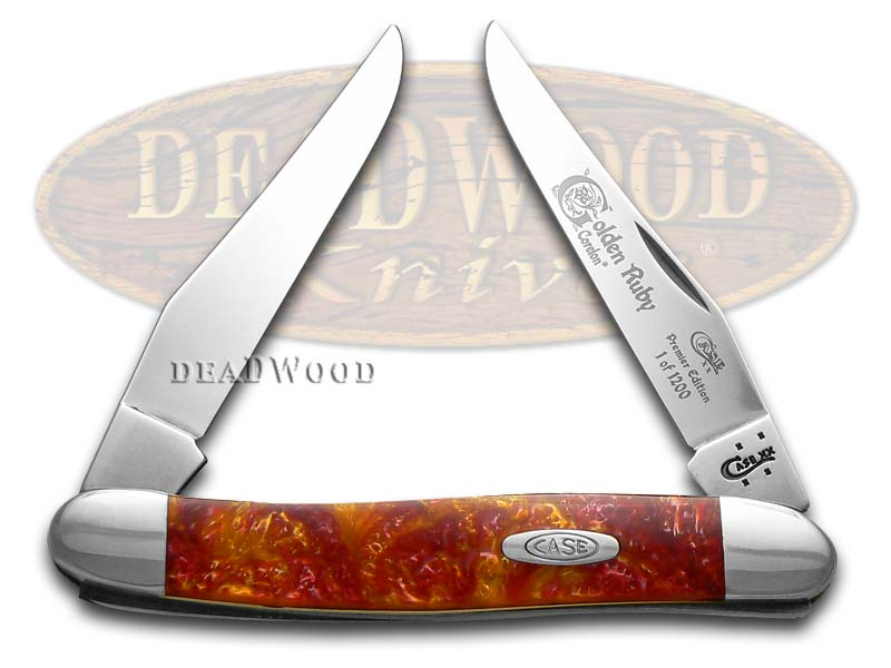 Case xx Genuine Golden Ruby Corelon Muskrat 1/1200 Stainless Pocket Knife Knives