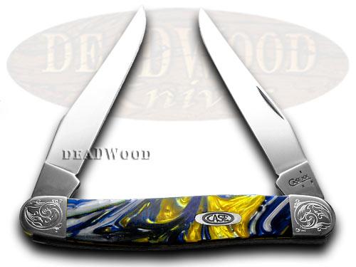 Case xx Engraved Bolster Series Genuine Sapphire Corelon Muskrat Pocket Knives