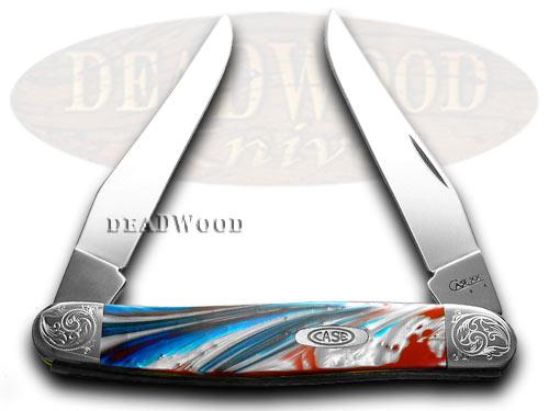 Case xx Engraved Bolster Series Genuine Star Spangled Corelon Muskrat Pocket Knives