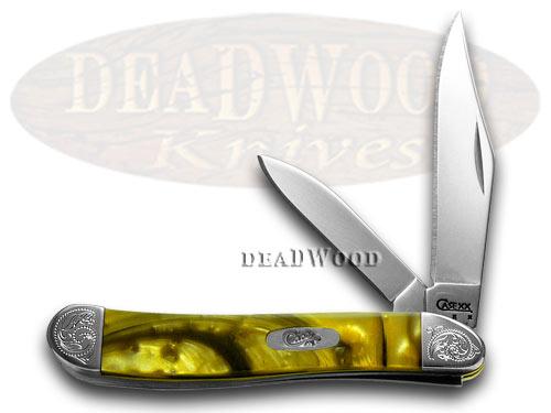 Case xx Engraved Bolster Series Genuine 24K Gold Corelon Peanut Pocket Knives