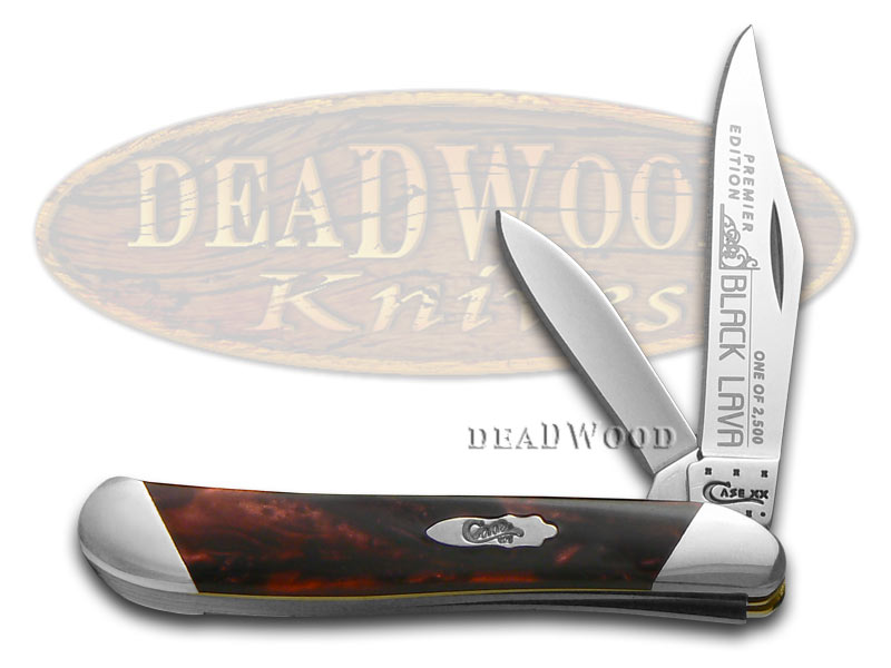 Case xx Slant Series Black Lava Corelon Peanut 1/2500 Stainless Pocket Knife Knives
