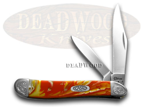 Case xx Engraved Bolster Series Genuine Fire Box Corelon Peanut Pocket Knives