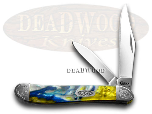 Case xx Engraved Bolster Series Genuine Sapphire Corelon Peanut Pocket Knives