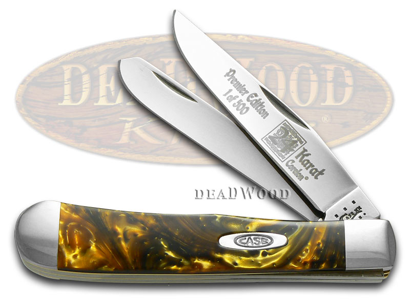 Case xx 24K Gold Genuine Corelon 1/500 Trapper Pocket Knife Knives