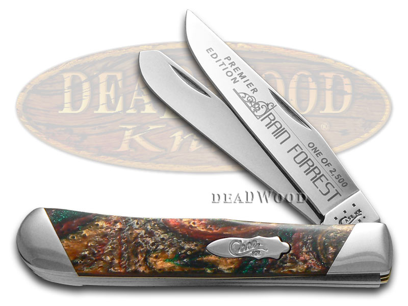 Case xx Slant Series Rain Forrest Corelon Trapper 1/2500 Stainless Pocket Knife Knives