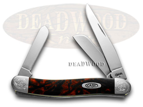 Case xx Engraved Bolster Series Black Lava Scrolled Stockman Pocket Knives