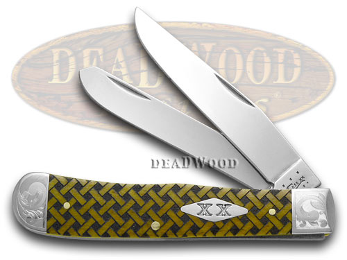 Case xx Antique Bone Basketweave Tru-sharp Stainless Trapper 1/500 Pocket Knife Knives