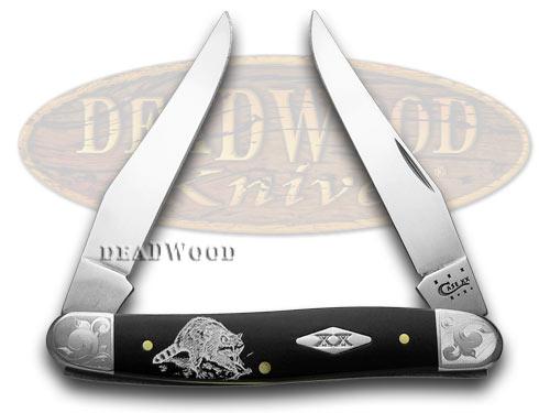 Case xx Racoon Coon Black Delrin Scrolled Bolster 1/500 Muskrat Pocket Knife Knives